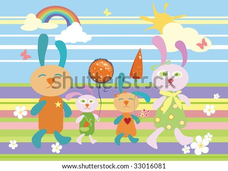 family of rabbits walks - stock vector
