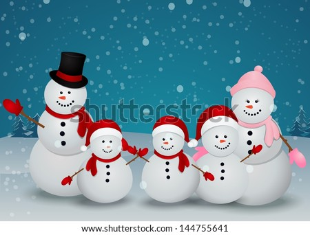 family of snowman christmas background - stock vector