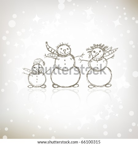 Family of snowmen, christmas sketch for your design - stock vector