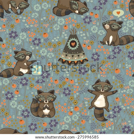 Family of wild raccoons resting on the meadow. Endless vector illustration - stock vector