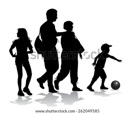 Family on a walk with the children in the urban park  - stock vector