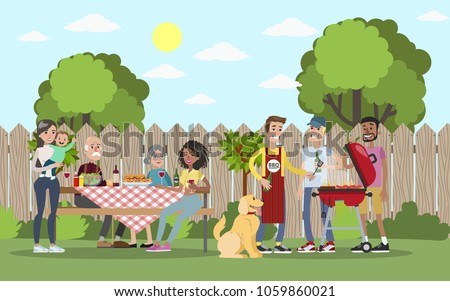 Family On BBQ Party On Backyard Stock Vector 1059860021 ...