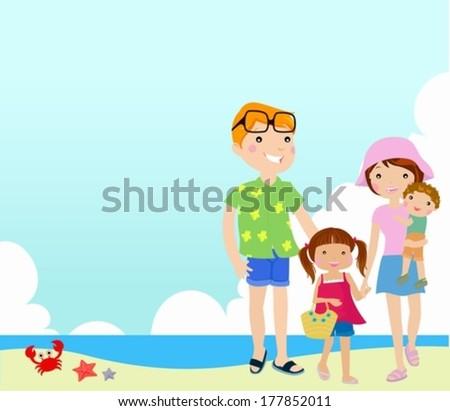 Family on beach - stock vector