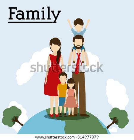 Family on planet design, vector illustration eps 10 - stock vector