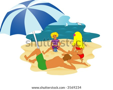 family on the beach, vector illustration