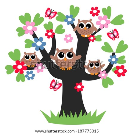 family owl tree flower together - stock vector