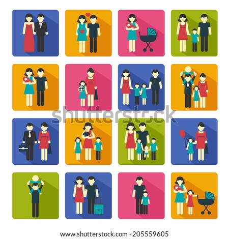 Family people figures website icons set of parents children married couple isolated vector illustration - stock vector