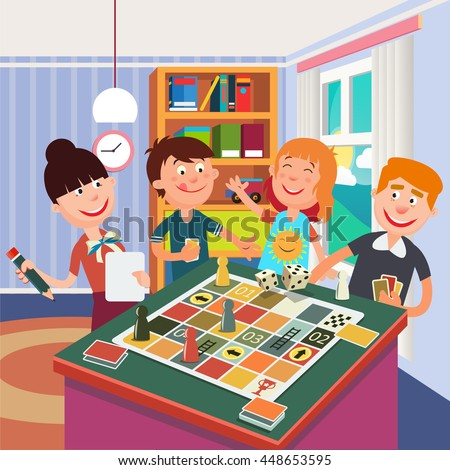 Family Playing Board Game. Happy Family Weekend. Vector illustration - stock vector