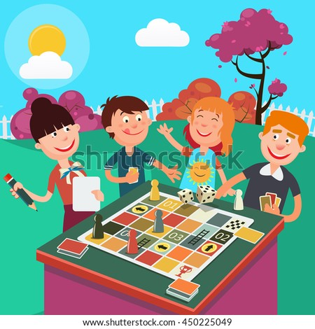 Family Playing Board Game Outdoor. Happy Family Weekend. Vector illustration - stock vector