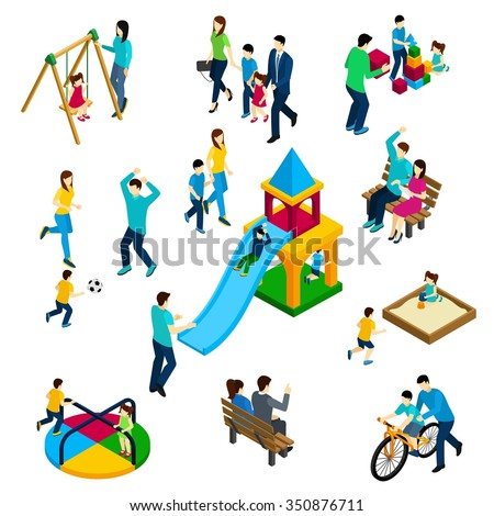 Family playing concept with isometric adults and children on playing ground isolated vector illustration - stock vector