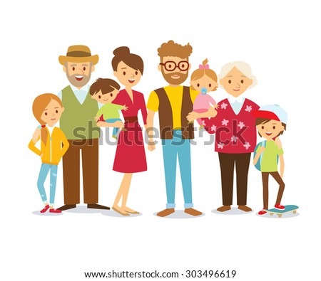 family portrait at the simple style - stock vector