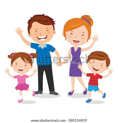 Family portrait. Happy family gesturing with cheerful smile. - stock vector