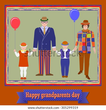 Family portraiture in bright frame on background. Grandparents with children. Happy grandparents day. Retro stylized standing figures of madam, senior and two kids. Autumn colored. Vector - stock vector