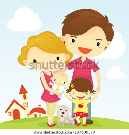 Family posing together smiling happy - stock vector