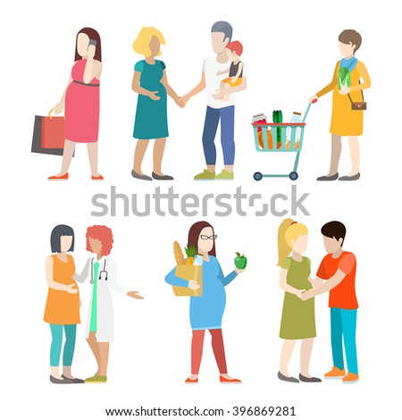 Family pregnant casual urban young people parents parenting couple flat web infographic concept vector icon set. Group creative young male female city pregnancy mother father nurse doctor prenatal. - stock vector