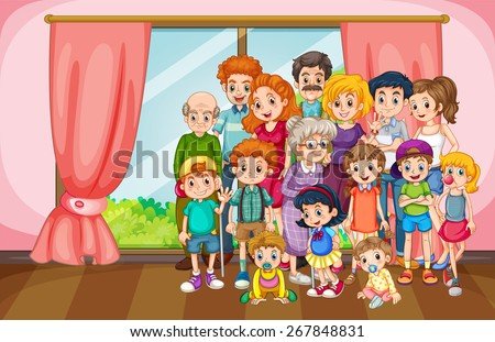 Family reunion gathering in the house - stock vector