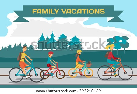 Family ride bike on highway. Healthy leisure and freedom riding bike. Man, woman, boy and girl pedaling on summer time vacation. Highway and Forest in summer time. Flat vector color illustration - stock vector