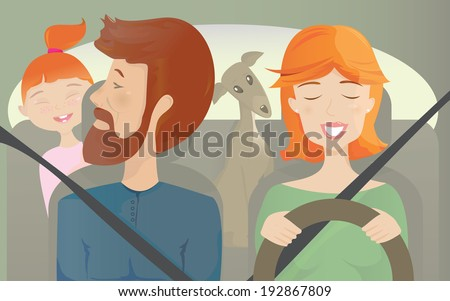 Family Ride Take your lovely family for a road trip or a simple city car ride. Don't forget your pet as well!  - stock vector