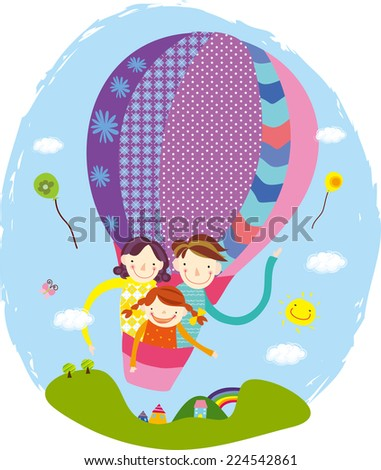 Family riding a hot air balloon. Family day. Happy family outing  - stock vector