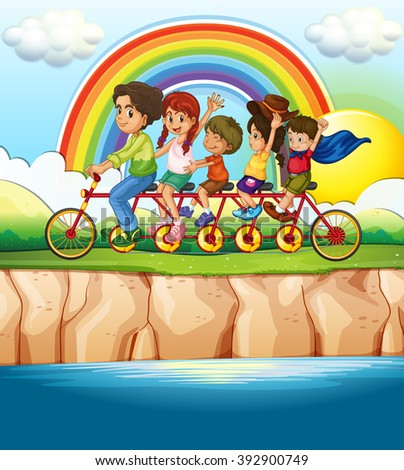 Family riding bicycle along the river illustration