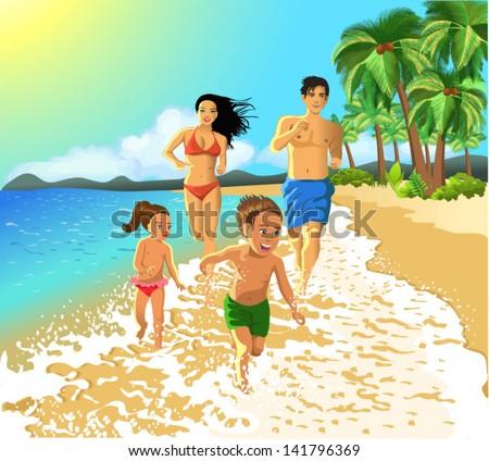 family running on the beach - stock vector