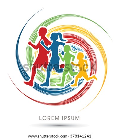 Family running silhouettes. designed using colorful on spin wheel background graphic vector - stock vector