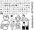 Family set of black sketch. Part 2-1. Isolated groups and layers. - stock vector