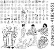 Family set of black sketch. Part 1-4. Isolated groups and layers. - stock vector