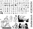 Family set of black sketch. Part 2-4. Isolated groups and layers. - stock photo