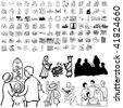 Family set of black sketch. Part 4-4. Isolated groups and layers. - stock photo