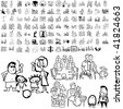 Family set of black sketch. Part 5-4. Isolated groups and layers. - stock vector