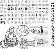 Family set of black sketch. Part 2-5. Isolated groups and layers. - stock vector