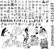 Family set of black sketch. Part 8-5. Isolated groups and layers. - stock vector