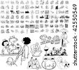 Family set of black sketch. Part 4-6. Isolated groups and layers. - stock