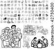 Family set of black sketch. Part 3-7. Isolated groups and layers. - stock vector