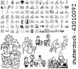 Family set of black sketch. Part 5-8. Isolated groups and layers. - stock vector
