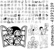 Family set of black sketch. Part 3-10. Isolated groups and layers. - stock photo