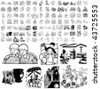 Family set of black sketch. Part 3-12. Isolated groups and layers. - stock vector