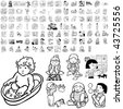 Family set of black sketch. Part 1-13. Isolated groups and layers. - stock vector