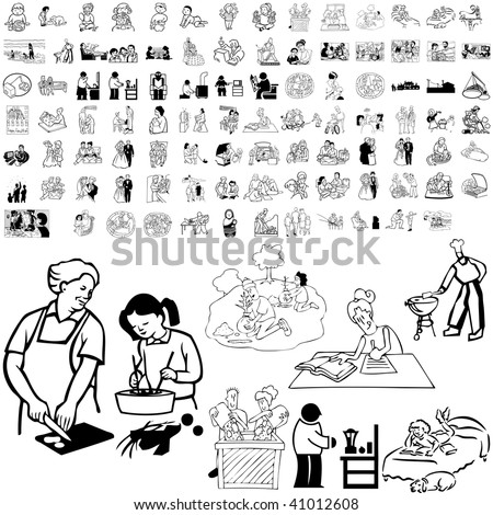Family set of black sketch. Part 2-2. Isolated groups and layers. - stock vector
