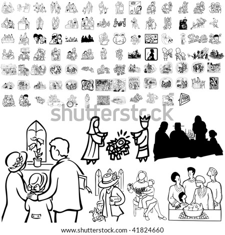 Family set of black sketch. Part 4-4. Isolated groups and layers. - stock vector