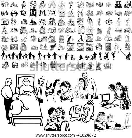 Family set of black sketch. Part 8-4. Isolated groups and layers. - stock vector