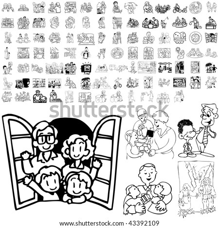 Family set of black sketch. Part 3-10. Isolated groups and layers. - stock vector
