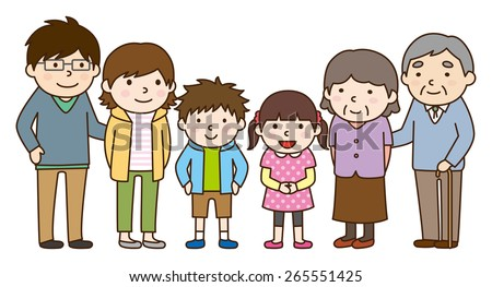 Family set / Parent and child and grandparents - stock vector