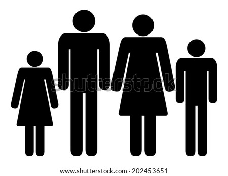Family sign, black silhouette of mother, father, son and daugther. vector art image illustration icon, isolated on white background - stock vector