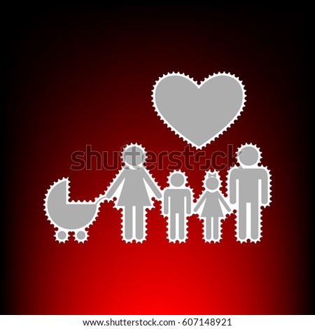 Family sign with heart. Husband and wife are kept children's hands. Postage stam or old photo style on red-black gradient background.