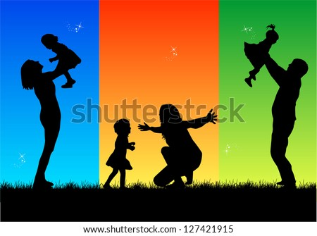 Family silhouette - stock vector