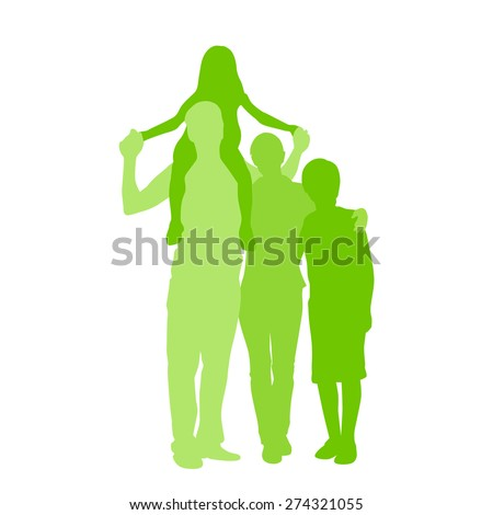 Family Silhouette, Full Length Couple with Two Kids Embracing Holding Hands Vector Illustration Isolated over White Background - stock vector