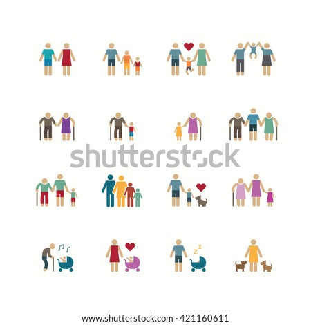 Family silhouette icons flat design vector set. - stock vector