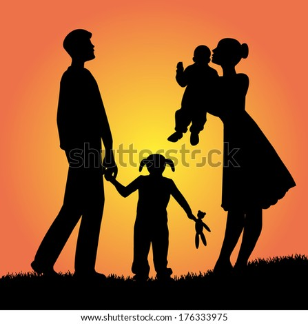 family silhouette in the sunset - stock vector